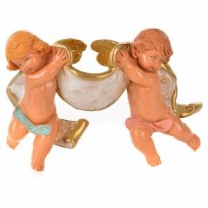 Deux anges avec parchemin Fontanini 6x10 cm s1