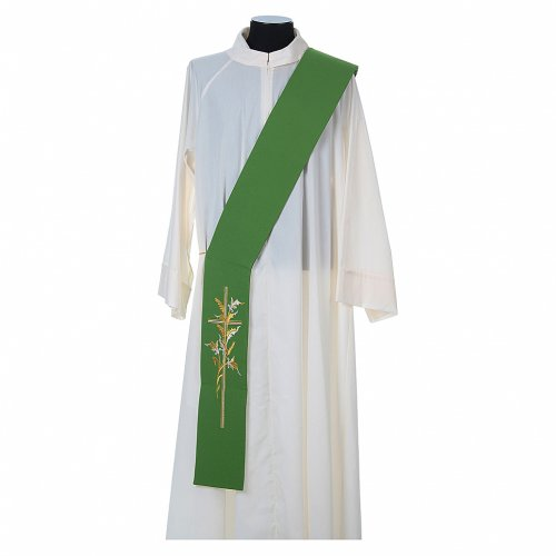 Diaconal stole in 100% polyester, cross and ears of wheat s2