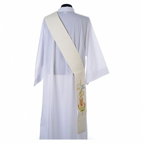 Diaconal stole in 100% polyester, lamp, Alpha and Omega s3