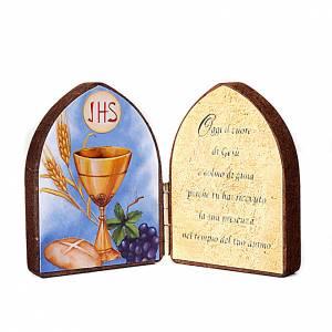 Tableaux, gravures, manuscrit enluminé: Diptyque, petite taille, image, phrase