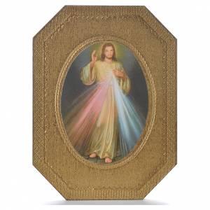 Divine Mercy shaped print on wood 19x14cm s1