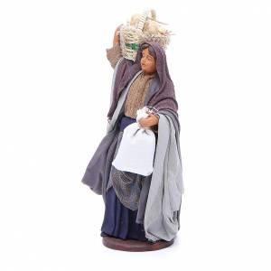 Donna cesto pane sacchetto in mano 14 cm presepe Napoli s2