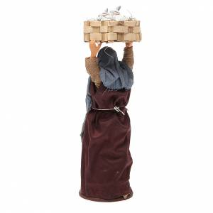 Donna con cassetta conigli 14 cm presepe napoletano s3