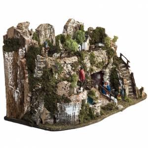 Krippe Hütten und Grotten: Dorf für Krippe mit Wasserfall 74x43x36 cm