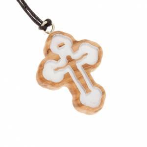 Holz Kreuzanhänger: Dreilappigen geschnitzten Kreuz weiss