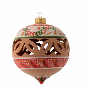 Christmas tree ornaments in wood and pvc: Drilled pointed Christmas bauble in terracotta from Deruta 100 mm red and white