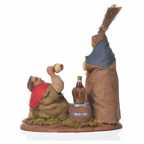 Drunkard and woman with broom, Neapolitan Nativity 10cm s2