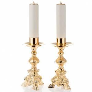 Duo chandeliers, métal doré, base trois pieds,h 31 s1