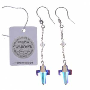 Earrings in 800 silver with cross and white Swarowski s2