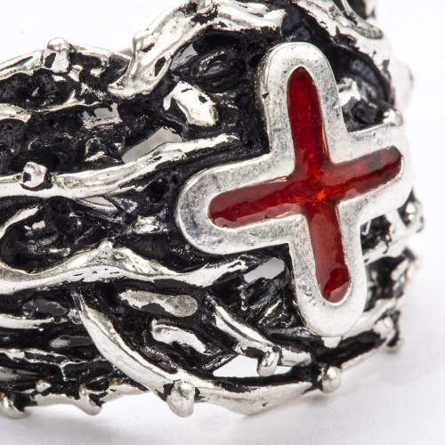 Ecclesiastical Ring made of silver 800 with enamel cross s7