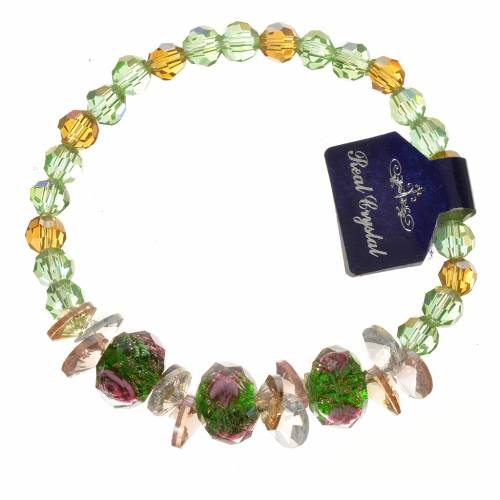 Elastic bracelet in crystal with Trinity, green s1