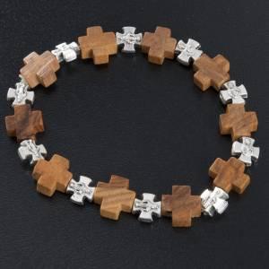 Medjugorje Armbänder: Elastischer Armband Olivenholz Kreuzen