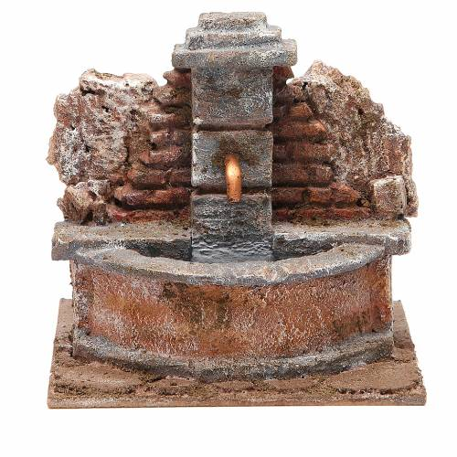 Electric Fountain nativity carved in rock 18x16x16cm s1