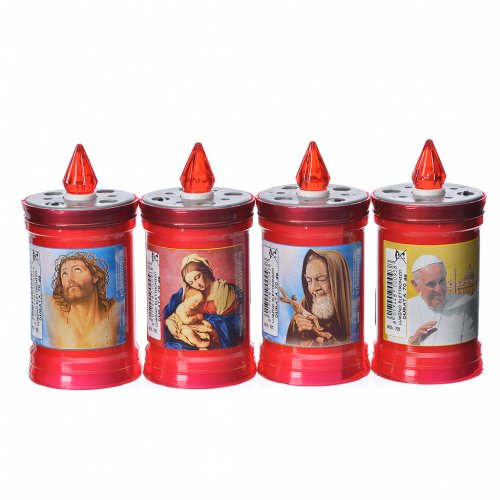 Electric votive candle in PVC, red, lasting 60 days s1