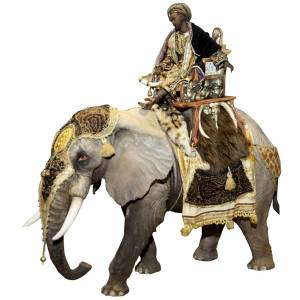 Elephant with Wise king, 30cm made of Terracotta by Angela Tripi s1