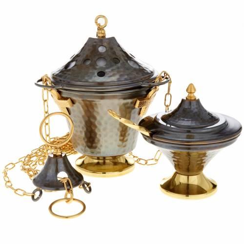 Encensoir et navette en bronze repoussés 1