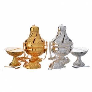 Encensoirs et navettes: Encensoir et navette laiton argenté doré