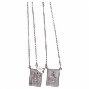 Colgantes, cruces y broches: Escapulario plata 925 AMEN Virgen María y Jesús