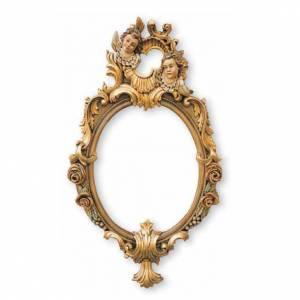 Ambones, reclinatorios, mobiliario religioso: Espejo entallado  a mano acabado con pan de oro con ángeles 80x47 cm