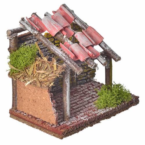 Establo de madera para animales belén 14x14x9 cm s5