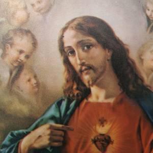 Estampa madera Sagrado Corazón Jesús y Marí s3