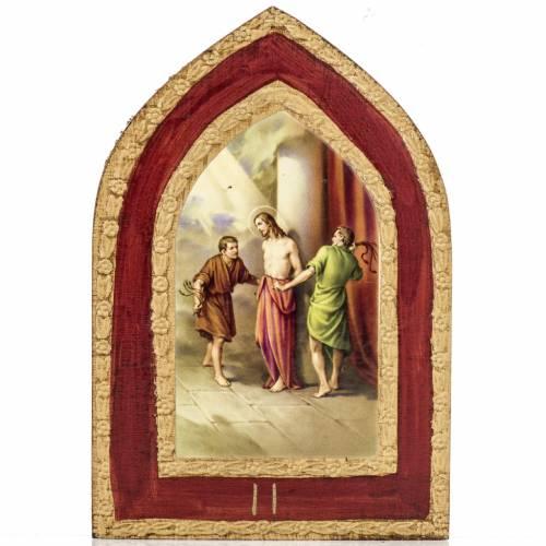 Estampa sobre madera Misterios Dolorosos 5 cuadros s3