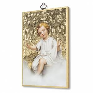Cuadros, estampas y manuscritos iluminados: Estampa sobre madera Niño Jesús en la Cuna