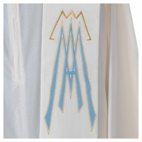 Estola 100% poliéster Ave María y bordado mariano s3