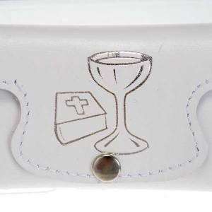 Étuis à chapelets: Etui à chapelet cuir blanc calice Bible communion