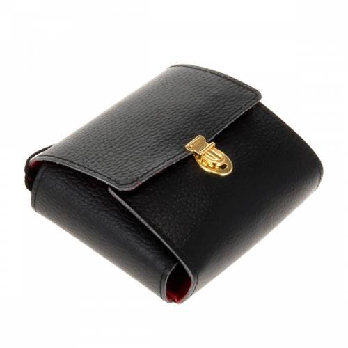 étui cuir noir avec custode, 9cm diamètre s2