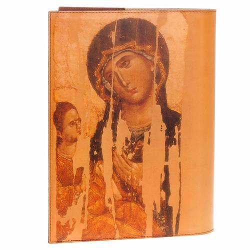 Etui lectionnaire, cuir, icône Christ et vierge s2