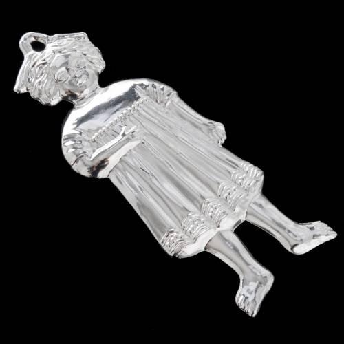 Ex voto bambina antica argento 925 o metallo 13 cm s4