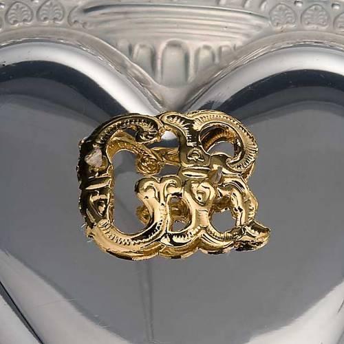 Ex-voto en coeur flamme ange 11.5x8.5 cm s3