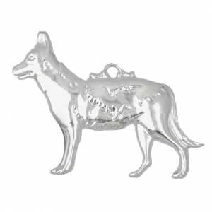Exvoto cane pastore argento 925 o metallo 10x8 cm s1