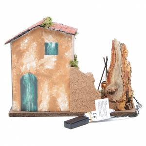 Farmhouse for nativities with red and yellow LED fire, 23x33x18cm s4