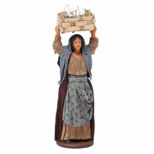 Femme avec caisse lapins 14 cm crèche napolitaine s1