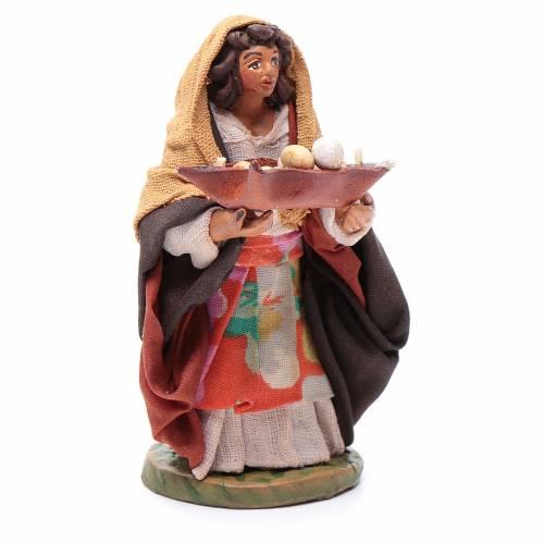Femme panier cuir en main 10 cm crèche napolitaine s3