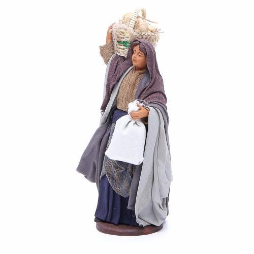 Femme panier pain sachet en main 14 cm crèche Naples s2