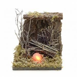 Krippe Öfen und Lagerfeuer: Feuerlager für Krippe mit Feuereffekt 13x12,5cm