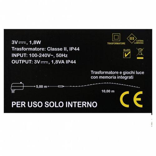 Filo Luminoso 100 nano led bianco caldo uso interno s4