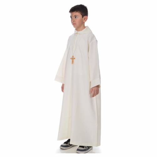 First Communion alb, simple, ivory s2