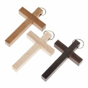 Rings, pendants and bracelets: First communion cross in walnut, wengè and beechwood with ring