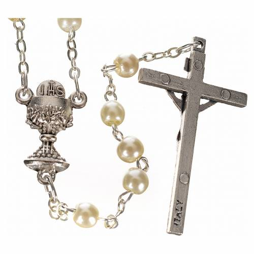 First Communion ivory pearl effect rosary s2