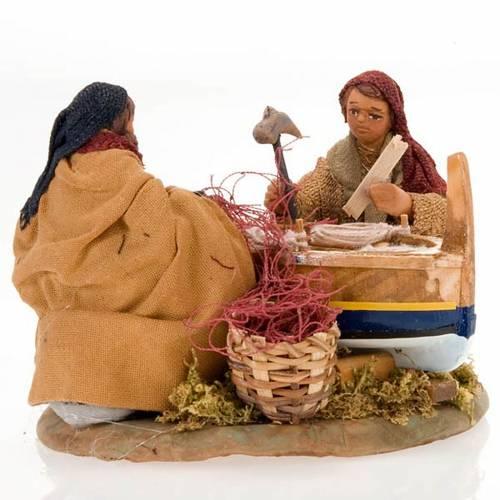 Fishermen with boat for nativity scene 10 cm s2