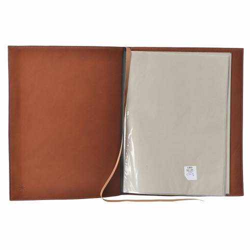 Folder for sacred rites in brown leather, hot pressed cross Bethleem, A4 size s3