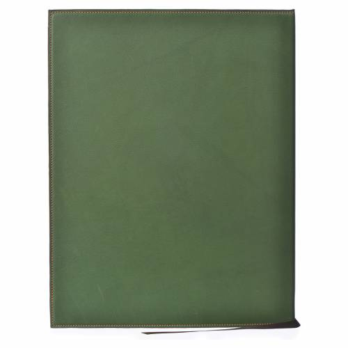 Folder for sacred rites in green leather, hot pressed cross Bethleem, A4 size s2