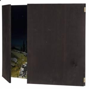 Fond crèche de Noel paysage, triptyque bois 200x70 s8