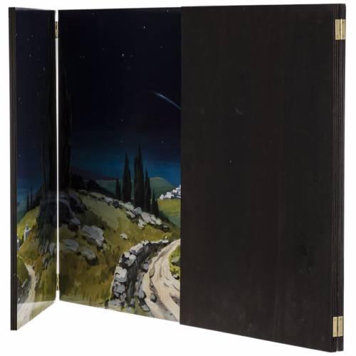 Fond crèche de Noel paysage, triptyque bois 200x70 s5