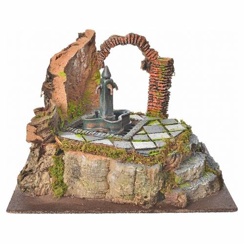 Fontaine de place 4 becs en miniature pour crèche s1