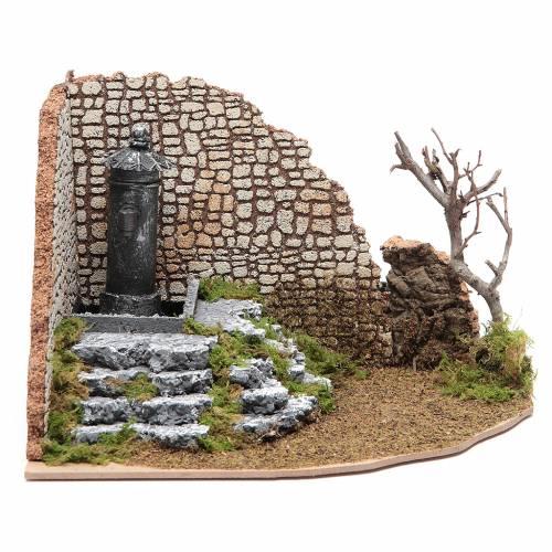 Fontana di piazza ad angolo per presepe 1